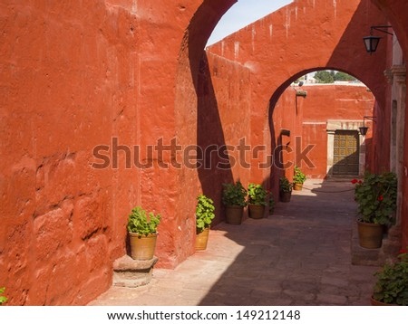 Alleys with arches within Santa Catalina Monastery, Arequipa, Peru - stock photo
