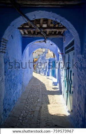 Alleyway in Morocco's Blue City, Chefchaouen
