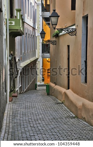 Alleyway in Old San Juan - stock photo