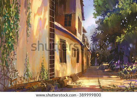 alleyway in old town,illustration painting