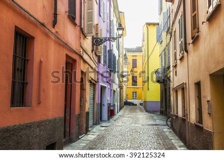 Alleyway in old town of Parma, Emilia Romagna province, Italy. Street Borgo S. Silvestro in Parma. - stock photo