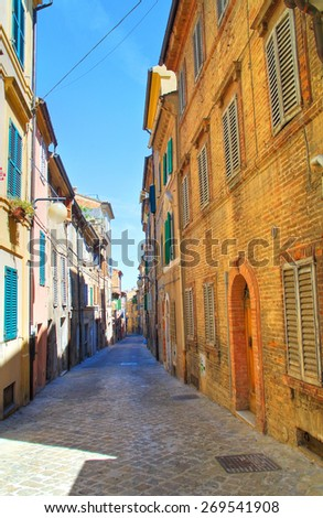 Alleyway. Macerata. Marche. Italy. - stock photo