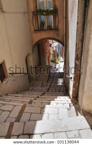 Alleyway. Pietramontecorvino. Puglia. Italy. - stock photo