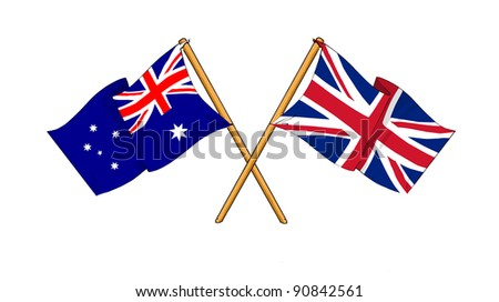 Alliance and friendship between Australia and United Kingdom - stock photo