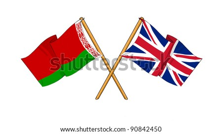 Alliance and friendship between Belarus and United Kingdom - stock photo