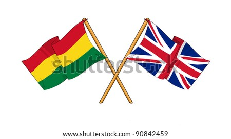 Alliance and friendship between Bolivia and United Kingdom - stock photo