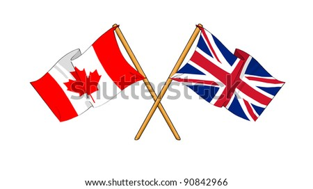 Alliance and friendship between Canada and United Kingdom - stock photo