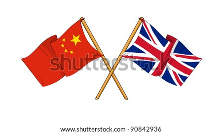Alliance and friendship between China and United Kingdom - stock photo