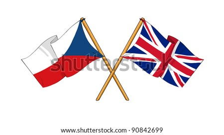 Alliance and friendship between Czech Republic and United Kingdom - stock photo