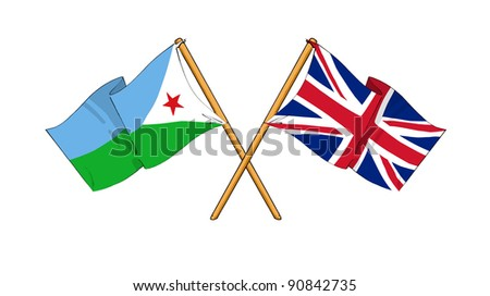 Alliance and friendship between Djibouti and United Kingdom - stock photo