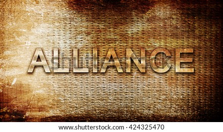 alliance, 3D rendering, text on a metal background