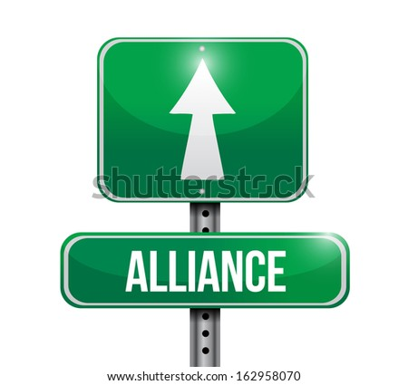 alliance road sign illustration design over a white background