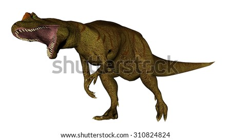 Allosaurus dinosaur roaring isolated in white background - 3D render