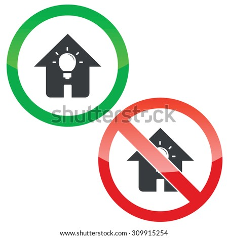 Allowed and forbidden signs with light bulb in house, isolated on white