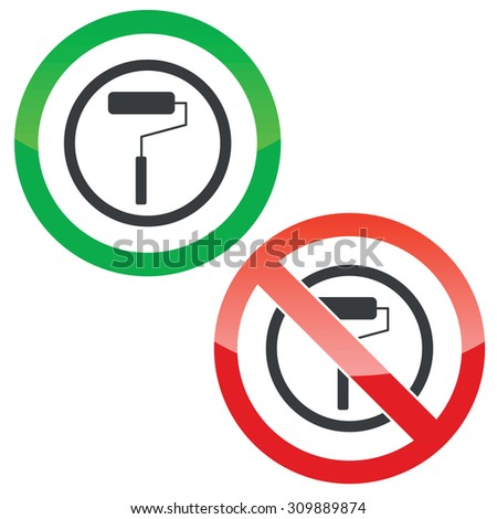 Allowed and forbidden signs with paint roller in circle, isolated on white - stock photo
