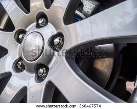 Alloy Car Wheel Closeup. Modern Car Wheel - stock photo