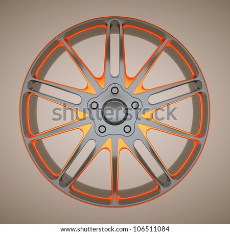 Alloy disc or wheel of sportcar. Black and red. Large resolution - stock photo