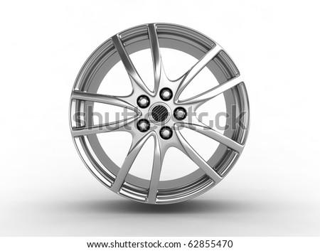 Alloy rim - 3d render - stock photo