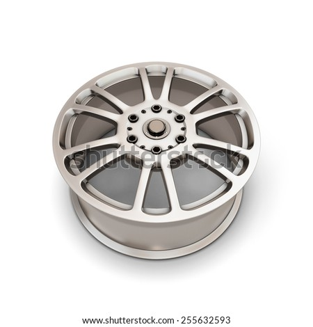 Alloy Wheel Rim on a white background. 3d illustartion.
