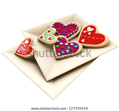 Allsorts individual heart-shaped butter cookies on the square plate for Valentine's Day - stock photo