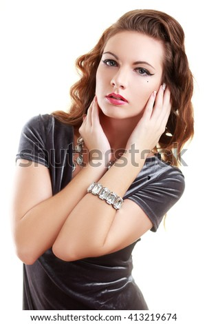 alluring sexy woman in evening dress posing isolated - stock photo