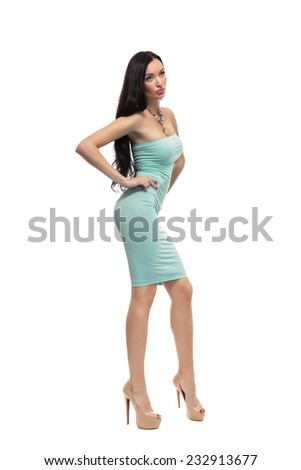 alluring sexy woman in evening dress posing, isolated on white