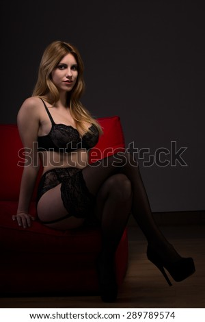 Alluring woman in lingerie with black stockings and high heels - stock photo