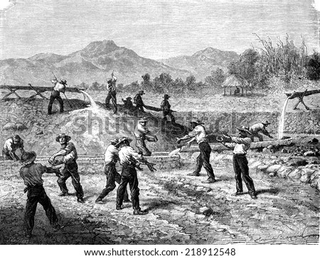 Alluvial gold mines, vintage engraved illustration. Le Tour du Monde, Travel Journal, (1872).  - stock photo