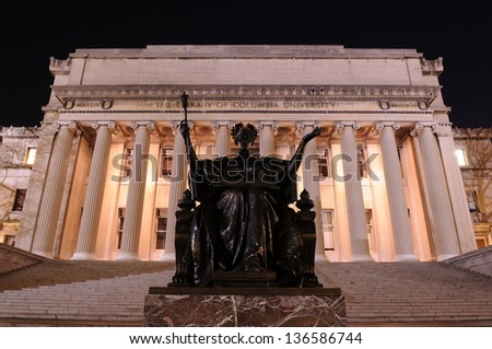 Alma Mater of Columbia University at night - stock photo