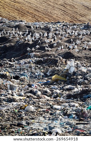 Almada, Portugal 2014: Landfill landscape. Great for environment and ecological themes  - stock photo