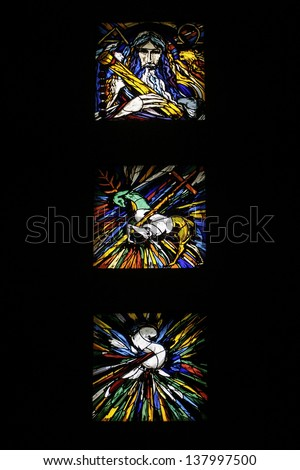 ALMADA, PORTUGAL - NOVEMBER 30: Satined glass in the chapel of the Monument to Christ the King (Cristo-Rei) on November 30, 2012 in ALmada, near Lisbon. Built by OPCA Enterprise 1952 - 1959.