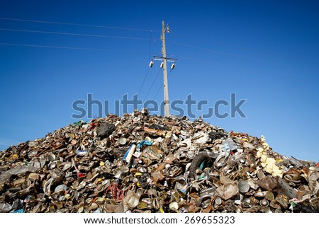 Almada, Portugal 2014: Pile of waste and trash for recycling or safe disposal,