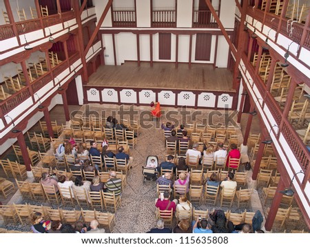 ALMAGRO - OCT 14 : Unidentified spectators await the beginning of the representation in the Comedy Corral, on October 14, 2012, in Almagro, Spain. Comedy Corral  was built in the sixteenth century.