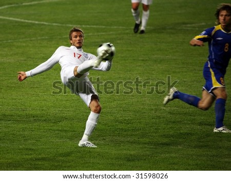 ALMATY - JUNE 6: Footballer David Beckham participates Kazakhstan v England, FIFA World Cup European Qualifying, Group Six, 6th June 2009 - stock photo