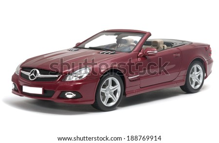 ALMATY, KAZAKHSTAN - April 23, 2014 - Collectible toy Mercedes-Benz SL 550 cabriolet isolated on white background - stock photo