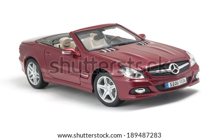ALMATY, KAZAKHSTAN - April 27, 2014 - Collectible toy Mercedes-Benz SL 550 cabriolet isolated on white background