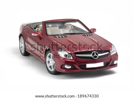 ALMATY, KAZAKHSTAN - April 27, 2014 - Collectible toy Mercedes-Benz SL 550 cabriolet isolated on white background - stock photo
