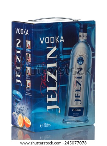 ALMATY, KAZAKHSTAN - DECEMBER 15, 2014: Big Bottle of French vodka, Boris Jelzin