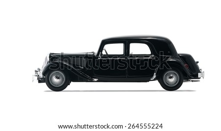 ALMATY, KAZAKHSTAN - FEBRUARY 23, 2014: Black vintage retro car isolated on white background - stock photo