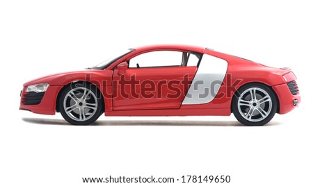 Almaty, Kazakhstan - February 23, 2014: Collectible toy model red car Audi R8