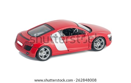 ALMATY, KAZAKHSTAN - FEBRUARY 23, 2014: Collectible toy model red car Audi R8 - stock photo