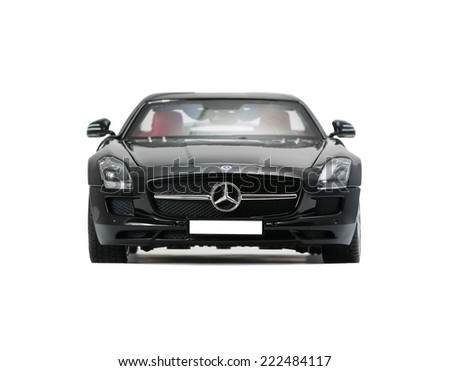 ALMATY, KAZAKHSTAN - june 22, 2014 - Collectible toy car Mercedes-Benz SLS Sedan  isolated on white background