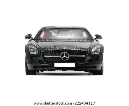 ALMATY, KAZAKHSTAN - june 22, 2014 - Collectible toy car Mercedes-Benz SLS Sedan  isolated on white background