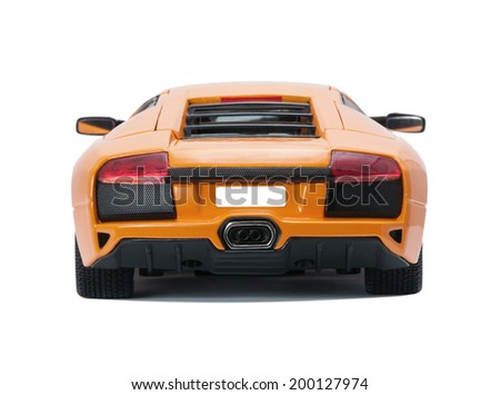 Almaty, Kazakhstan - June 17, 2014: Collectible toy model Lamborghini Murcielago LP640 back view  on white background - stock photo