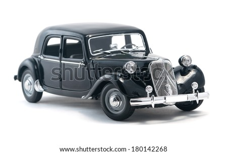 Almaty, Kazakhstan - March 4, 2014: Vintage collectible model cars Citroen 15 CV Cyl - stock photo