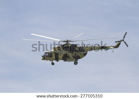 Almaty, Kazakhstan - May 10, 2015: helicopter at an air show near the city of Almaty