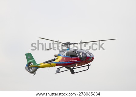 Almaty, Kazakhstan - May 10, 2015: helicopter in the sky at an air show