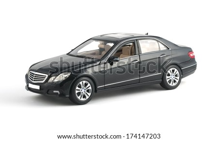 ALMATY, KAZAKHSTAN - OCTOBER 27, 2013 - Collectible toy Mercedes-Benz E-Class E350 Sedan isolated on white background