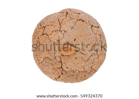 Almendrados, a typical and traditional almond biscuit from the Algarve region of Portugal, isolated on white background