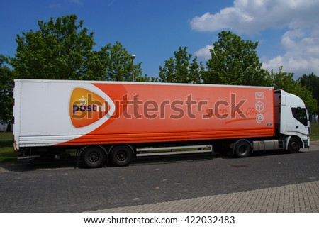 Almere Buiten, Flevoland, The Netherlands - May 17, 2016: PostNL truck at rest without a driver.